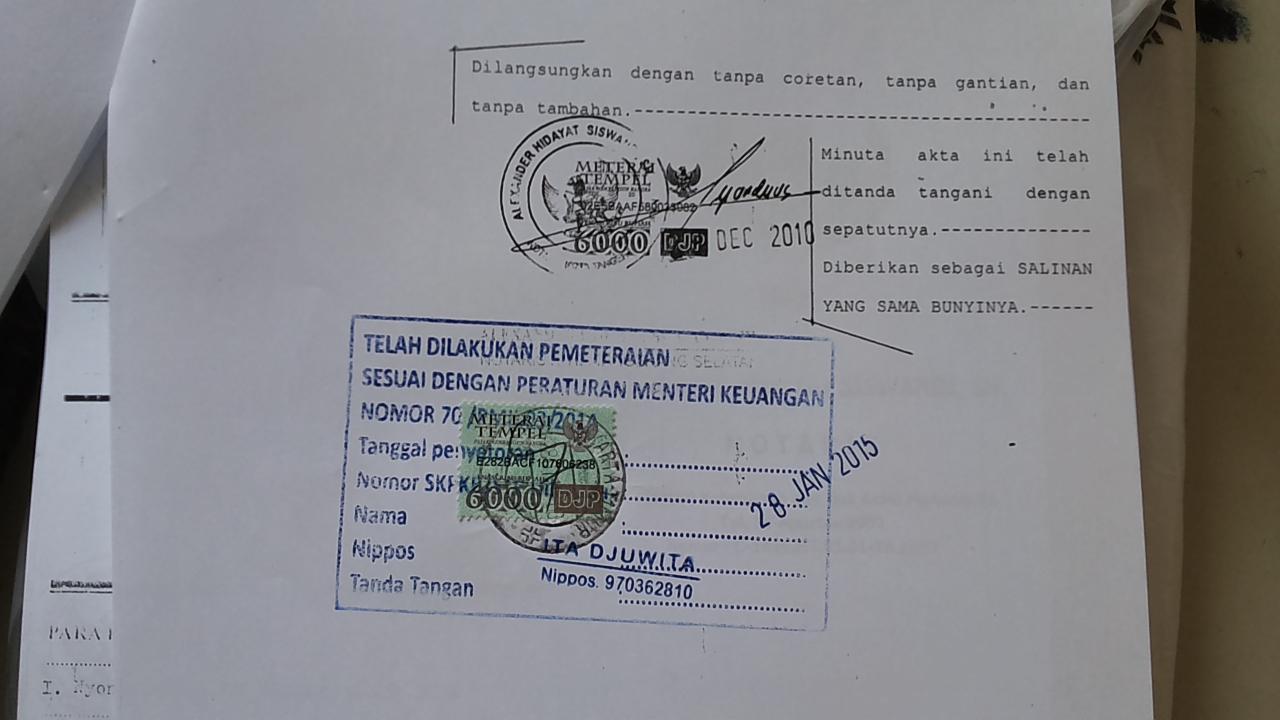 Contoh Fotocopy Akta Yang Terlegalisir Di Kantor Pos Mitra